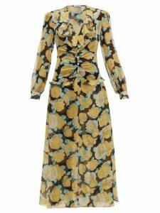 Miu Miu - Rose-print Crystal-embellished Georgette Dress - Womens - Black Multi
