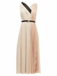 Prada - Belted Pleated-twill Midi Dress - Womens - Light Pink