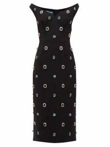 Prada - Crystal Embellished Cady Midi Dress - Womens - Black Multi