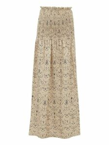 Sir - Sachi Floral-print Smocked Linen-canvas Maxi Skirt - Womens - Cream Multi