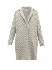 Herno - Snowflake Metallic Wool-herringbone Jacket - Womens - Silver Multi