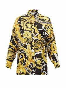 Versace - Baroque-print Silk-twill Shirt - Womens - Black Gold