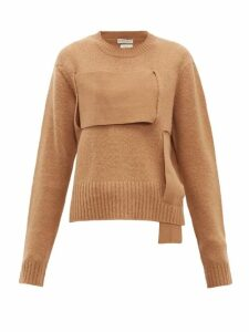 Bottega Veneta - Woven Panel Wool Sweater - Womens - Camel