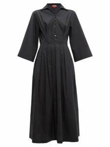 Staud - Pleated-skirt Cotton-blend Poplin Shirtdress - Womens - Black