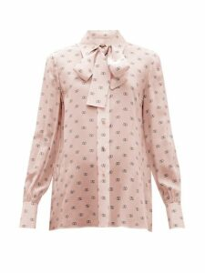 Valentino - V Logo Print Tie Neck Silk Blouse - Womens - Pink