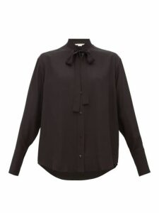 Stella Mccartney - Pussy Bow Silk Blouse - Womens - Black