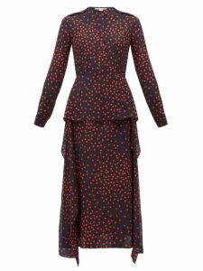 Stella Mccartney - Polka Dot-print Draped-panel Silk Dress - Womens - Navy