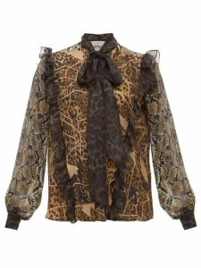 Preen By Thornton Bregazzi - Blakely Leopard And Snake-print Pussy-bow Blouse - Womens - Leopard