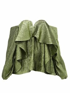Halpern - Metallic Draped Lamé Bustier Blouse - Womens - Green