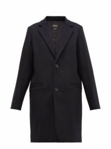 A.p.c. - Carver Single Breasted Felted Wool Blend Overcoat - Womens - Navy