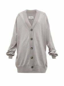 Maison Margiela - Longline Wool Jersey Cardigan - Womens - Grey