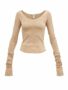 Lemaire - Second Skin Scoop-neck Crepe-knit Sweater - Womens - Beige