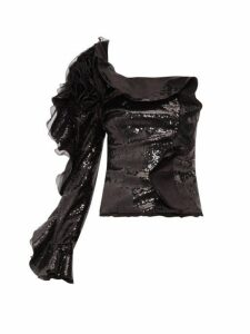 Dundas - One-sleeve Ruffle-trimmed Sequinned Top - Womens - Black
