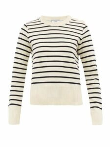 Ami - Breton-stripe Wool Sweater - Womens - White Multi
