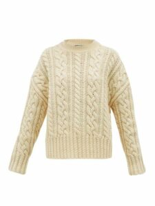 Ami - Cable Knit Wool Aran Sweater - Womens - Ivory
