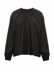 Rochas - Tie-neck Cotton-blend Top - Womens - Black