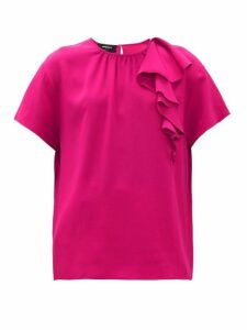 Rochas - Pedra Envers Ruffle-trim Satin Top - Womens - Fuchsia