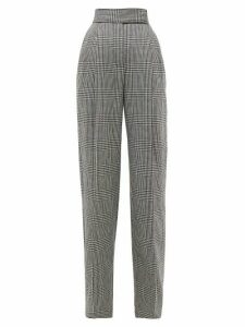 Alexander Mcqueen - Houndstooth High-rise Wide-leg Trousers - Womens - Black White