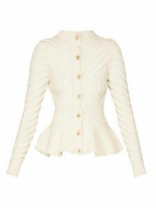 Alexander Mcqueen - Peplum Hem Wool Blend Cardigan - Womens - Ivory
