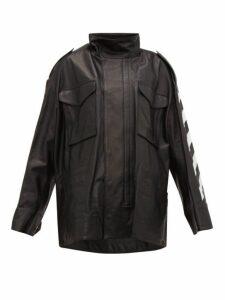 Off-white - Diag Woman Print Leather Jacket - Womens - Black
