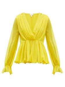 Giambattista Valli - Ruffled Silk Blouse - Womens - Yellow