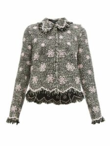 Giambattista Valli - Floral Embroidered Tweed Jacket - Womens - Black Multi