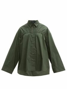 White Story - Adam Elasticated Cotton-poplin Shirt - Womens - Khaki