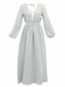 White Story - Greta Linen Maxi Dress - Womens - Light Blue