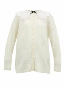 Miu Miu - Broderie Anglaise Collar Mohair Blend Cardigan - Womens - Cream Multi