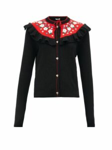 Miu Miu - Floral-embroidered Wool Cardigan - Womens - Black Multi