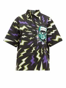 Prada - Frankenstein-print Cotton-poplin Shirt - Womens - Black Multi