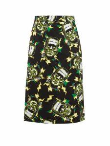 Prada - Frankenstein's Monster-print Cotton Pencil Skirt - Womens - Black Green