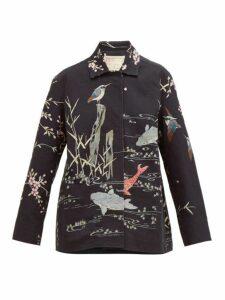 By Walid - Hope Koi Print Cotton Jacket - Womens - Black Multi