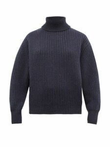 Brunello Cucinelli - Roll-neck Cashmere-blend Sweater - Womens - Blue Multi