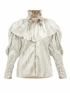 Rodarte - Crystal Button Pleated Metallic Blouse - Womens - Silver
