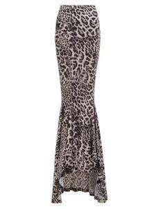 Norma Kamali - Leopard-print Jersey Fishtail Maxi Skirt - Womens - Grey Print