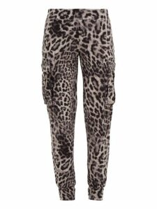 Norma Kamali - Leopard-print Jersey Cargo Track Pants - Womens - Grey Print