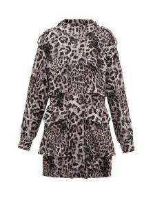 Norma Kamali - Hooded Leopard-print Jersey Cargo Jacket - Womens - Grey Print
