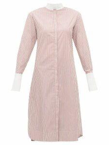 Marina Moscone - Striped Cotton Tunic Shirt - Womens - Red White