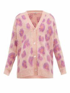 Miu Miu - Leopard-intarsia Mohair-blend Cardigan - Womens - Pink Multi