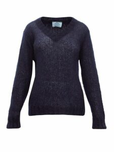 Prada - V-neck Mohair-blend Sweater - Womens - Navy
