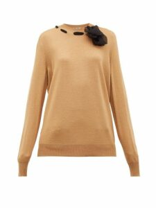 Miu Miu - Chiffon-trimmed Wool Sweater - Womens - Camel