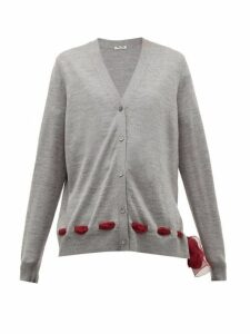 Miu Miu - Chiffon Trim Wool Cardigan - Womens - Grey