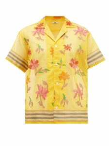 Bode - Floral-embroidered Cotton-blend Shirt - Womens - Yellow