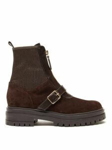 Gianvito Rossi - Ribbed Panel Buckled Suede Ankle Boots - Womens - Dark Brown
