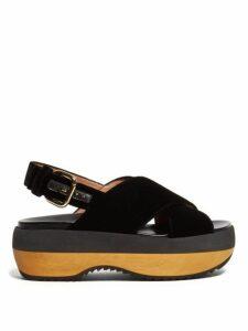 Marni - Cross Strap Velvet Flatform Sandals - Womens - Black