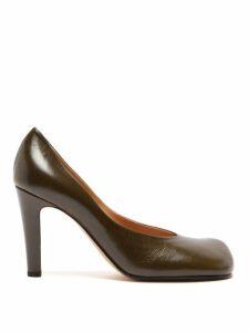 Bottega Veneta - Square Toe Leather Pumps - Womens - Khaki