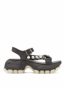 Miu Miu - Crystal Embellished Raised Sole Sandals - Womens - Black