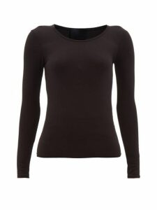 Wone - Long Sleeved Scoop Neck T Shirt - Womens - Black