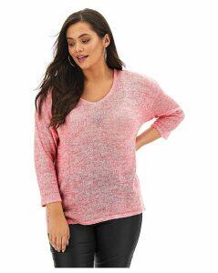 Pink Fine Knit V Neck Jumper